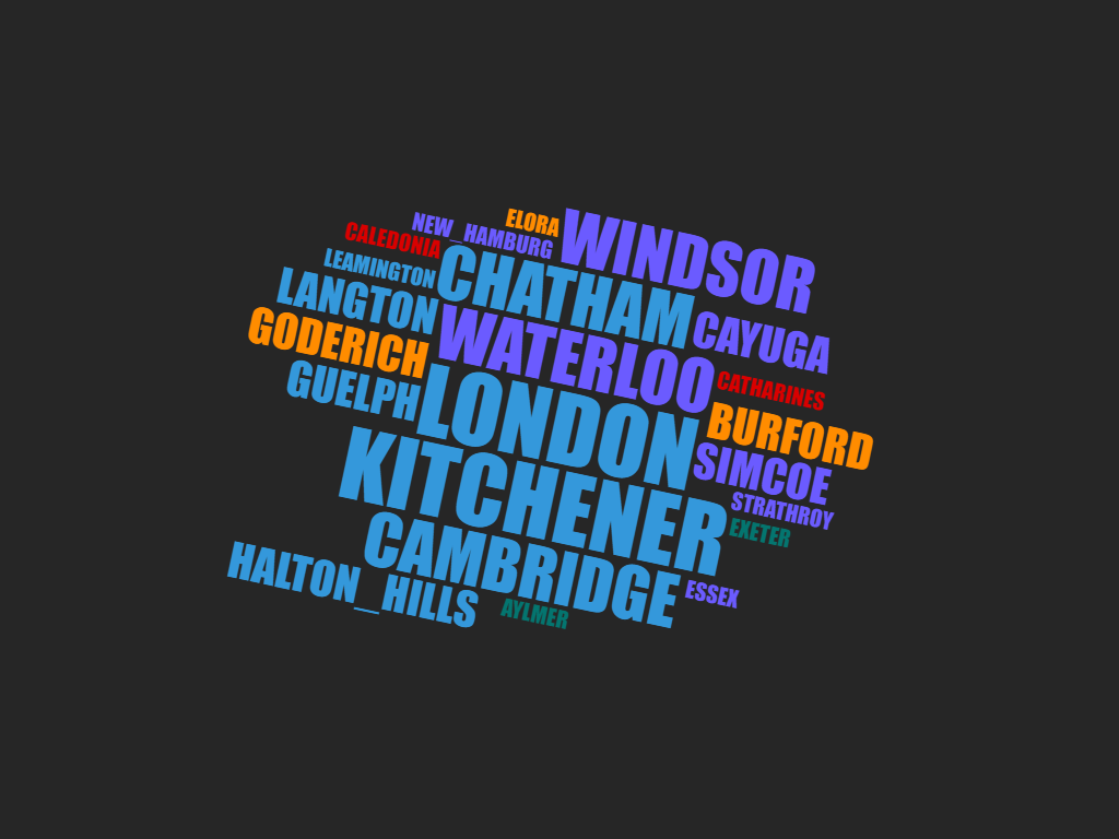 Word cloud of members locations